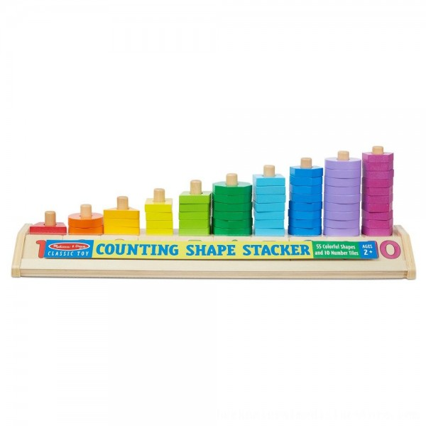 Black Friday 2020 | Melissa & Doug Counting Shape Stacker - Wooden Educational Toy With 55 Shapes and 10 Number Tiles