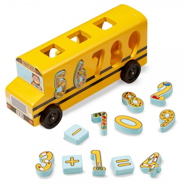 Black Friday 2020   Melissa & Doug Number Matching Math Bus - Educational Toy With 10 Numbers, 3 Math Symbols, and 5 Double-Sided Cards