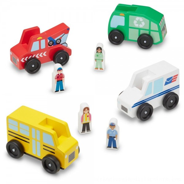 Black Friday 2020 | Melissa & Doug Community Vehicles Play Set - Classic Wooden Toy With 4 Vehicles and 4 Play Figures