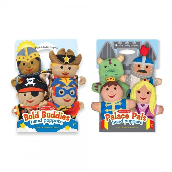 Black Friday 2020   Melissa & Doug Adventure Hand Puppets (Set of 2, 4 puppets in each) - Bold Buddies and Palace Pals