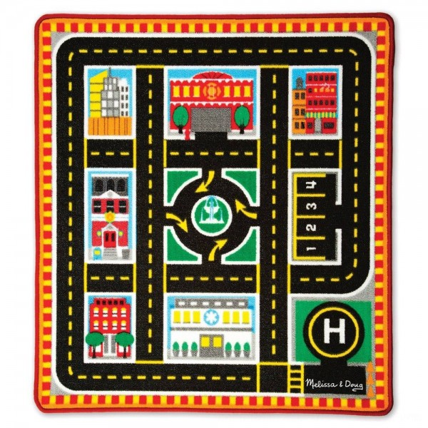 Black Friday 2020 | Melissa & Doug Round The City Rescue Rug With 4 Wooden Vehicles (39 x 36 inches)