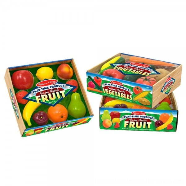 Black Friday 2020 | Melissa & Doug Playtime Produce Fruits Play Food Set With Crate (9pc)