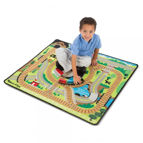 Black Friday 2020   Melissa & Doug Round the Rails Train Rug With 3 Linking Wooden Train Cars (39 x 36 inches)