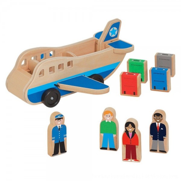 Black Friday 2020 | Melissa & Doug Wooden Airplane Play Set With 4 Play Figures and 4 Suitcases