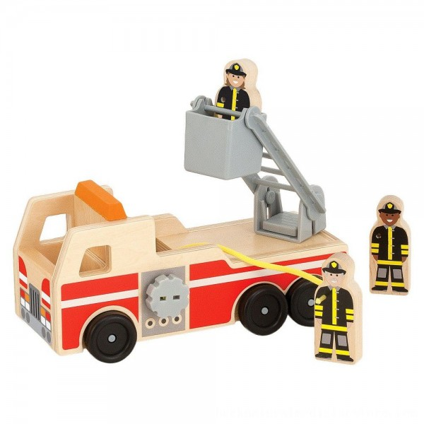 Black Friday 2020 | Melissa & Doug Wooden Fire Truck With 3 Firefighter Play Figures