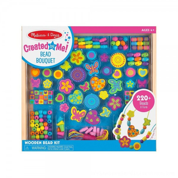 Black Friday 2020 | Melissa & Doug Bead Bouquet Deluxe Wooden Bead Set With 220+ Beads for Jewelry-Making